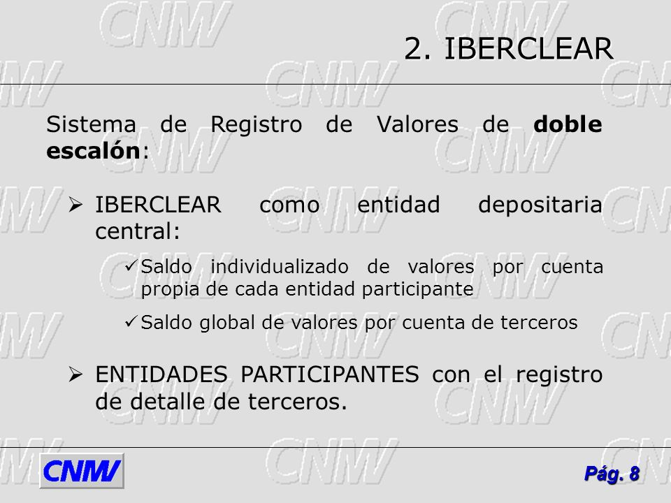 8 Pág. 8 2. IBERCLEAR Sistema de Registro de Valores de doble escalón: IBERCLEAR como entidad depositaria central: Saldo individualizado de valores po