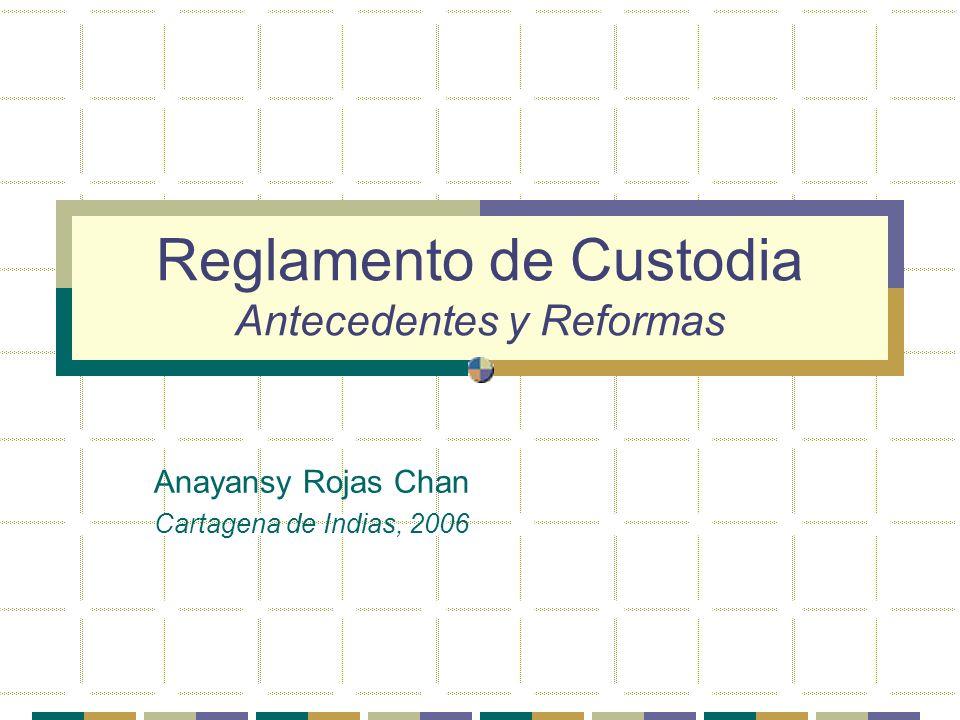 Reglamento de Custodia Antecedentes y Reformas Anayansy Rojas Chan Cartagena de Indias, 2006