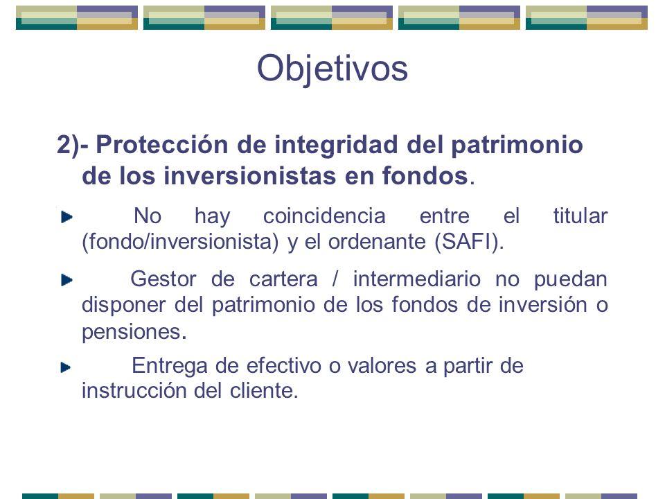 Objetivos 2)- Protección de integridad del patrimonio de los inversionistas en fondos. No hay coincidencia entre el titular (fondo/inversionista) y el
