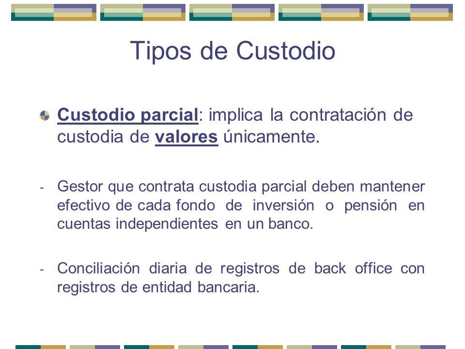 Tipos de Custodio Custodio parcial: implica la contratación de custodia de valores únicamente. - Gestor que contrata custodia parcial deben mantener e