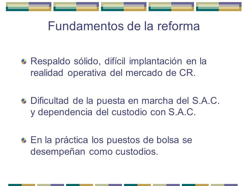 Fundamentos de la reforma Respaldo sólido, difícil implantación en la realidad operativa del mercado de CR. Dificultad de la puesta en marcha del S.A.