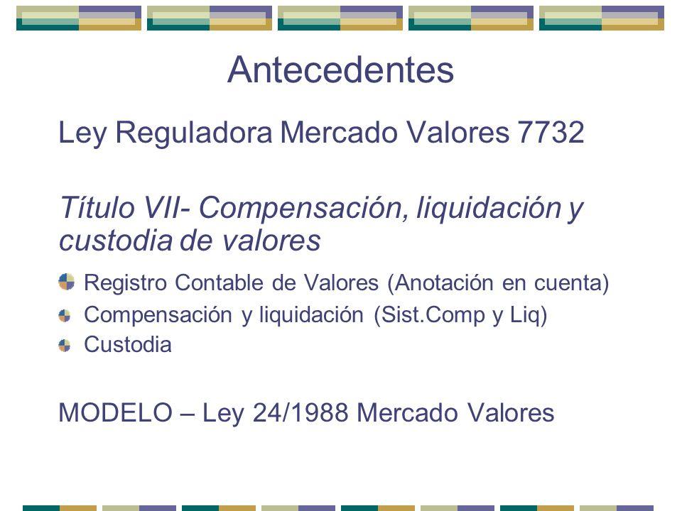 Antecedentes Ley Reguladora Mercado Valores 7732 Título VII- Compensación, liquidación y custodia de valores Registro Contable de Valores (Anotación e