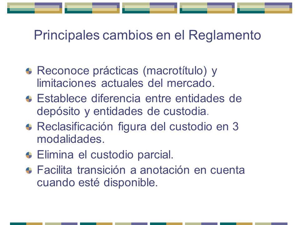 Principales cambios en el Reglamento Reconoce prácticas (macrotítulo) y limitaciones actuales del mercado. Establece diferencia entre entidades de dep