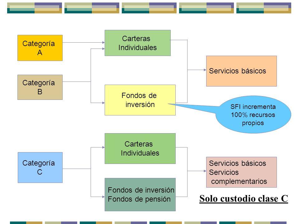 Categoría A Categoría B Carteras Individuales Fondos de inversión Categoría C Fondos de inversión Fondos de pensión SFI incrementa 100% recursos propi