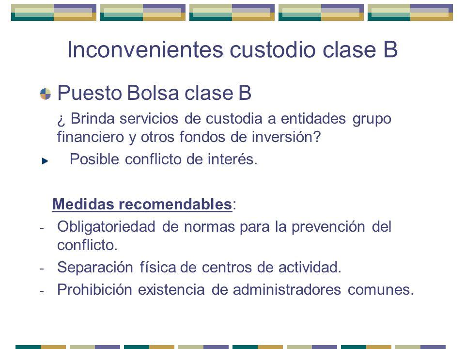 Inconvenientes custodio clase B Puesto Bolsa clase B ¿ Brinda servicios de custodia a entidades grupo financiero y otros fondos de inversión? Posible