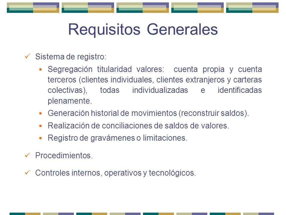 Requisitos Generales Sistema de registro: Segregación titularidad valores: cuenta propia y cuenta terceros (clientes individuales, clientes extranjero