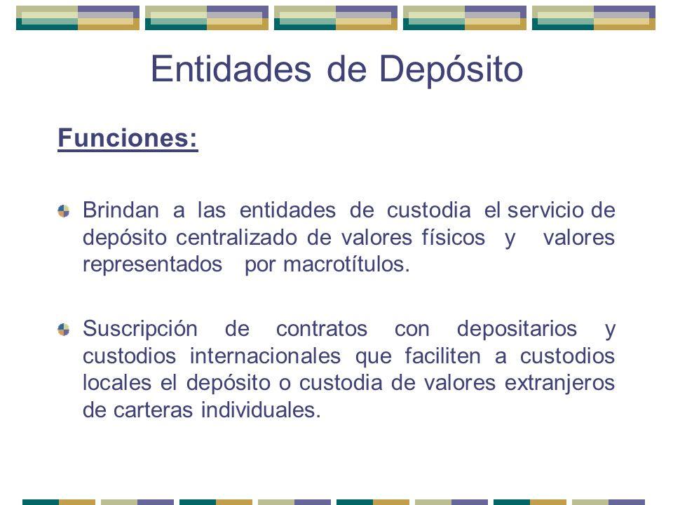 Entidades de Depósito Funciones: Brindan a las entidades de custodia el servicio de depósito centralizado de valores físicos y valores representados p
