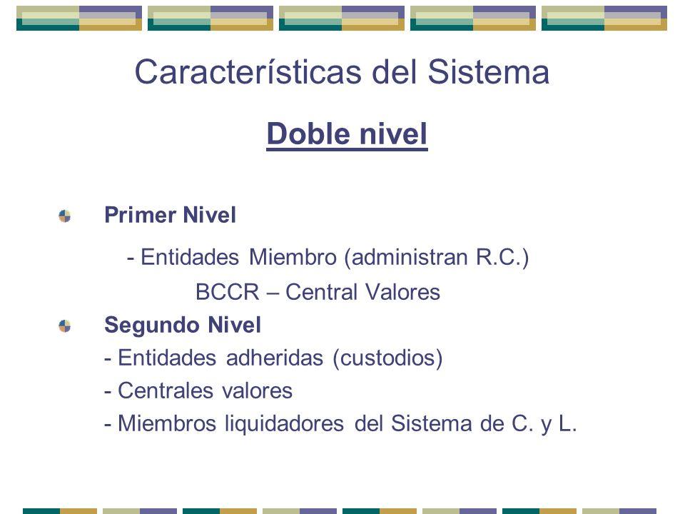 Características del Sistema Doble nivel Primer Nivel - Entidades Miembro (administran R.C.) BCCR – Central Valores Segundo Nivel - Entidades adheridas