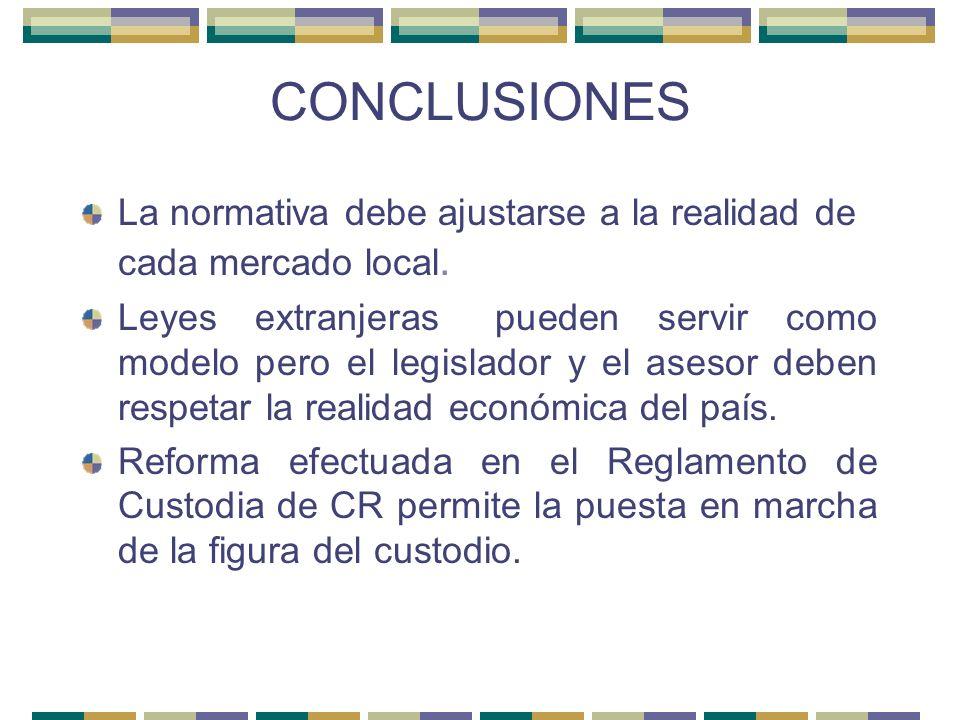 CONCLUSIONES La normativa debe ajustarse a la realidad de cada mercado local. Leyes extranjeras pueden servir como modelo pero el legislador y el ases