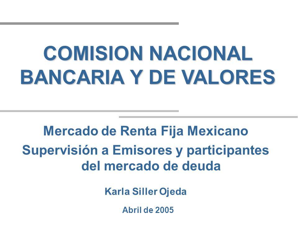 Abril de 2005 COMISION NACIONAL BANCARIA Y DE VALORES Mercado de Renta Fija Mexicano Supervisión a Emisores y participantes del mercado de deuda Karla Siller Ojeda