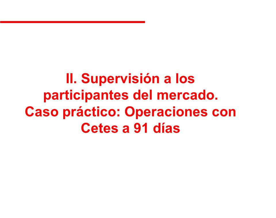 II. Supervisión a los participantes del mercado. Caso práctico: Operaciones con Cetes a 91 días