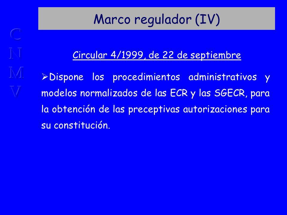 Marco regulador (IV) Circular 4/1999, de 22 de septiembre Dispone los procedimientos administrativos y modelos normalizados de las ECR y las SGECR, para la obtención de las preceptivas autorizaciones para su constitución.
