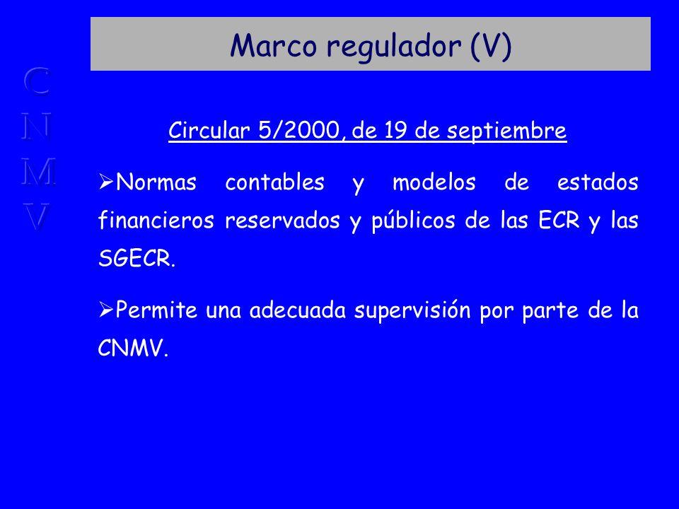Marco regulador (V) Circular 5/2000, de 19 de septiembre Normas contables y modelos de estados financieros reservados y públicos de las ECR y las SGECR.