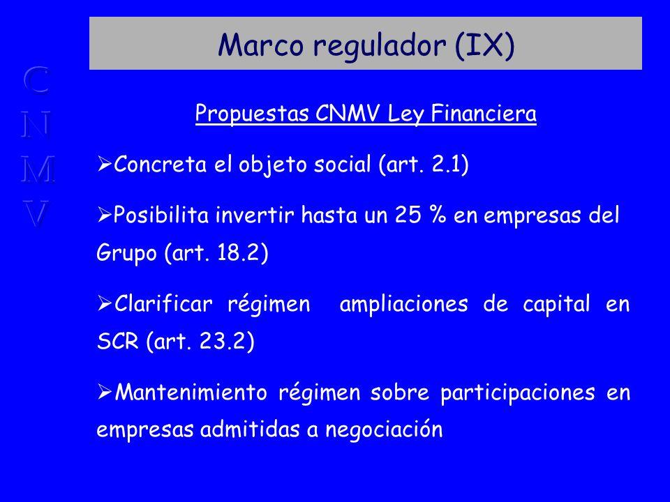 Marco regulador (IX) Propuestas CNMV Ley Financiera Concreta el objeto social (art.