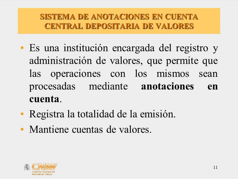 11 SISTEMA DE ANOTACIONES EN CUENTA CENTRAL DEPOSITARIA DE VALORES Es una institución encargada del registro y administración de valores, que permite que las operaciones con los mismos sean procesadas mediante anotaciones en cuenta.