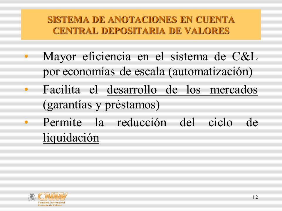 12 SISTEMA DE ANOTACIONES EN CUENTA CENTRAL DEPOSITARIA DE VALORES Mayor eficiencia en el sistema de C&L por economías de escala (automatización) Facilita el desarrollo de los mercados (garantías y préstamos) Permite la reducción del ciclo de liquidación