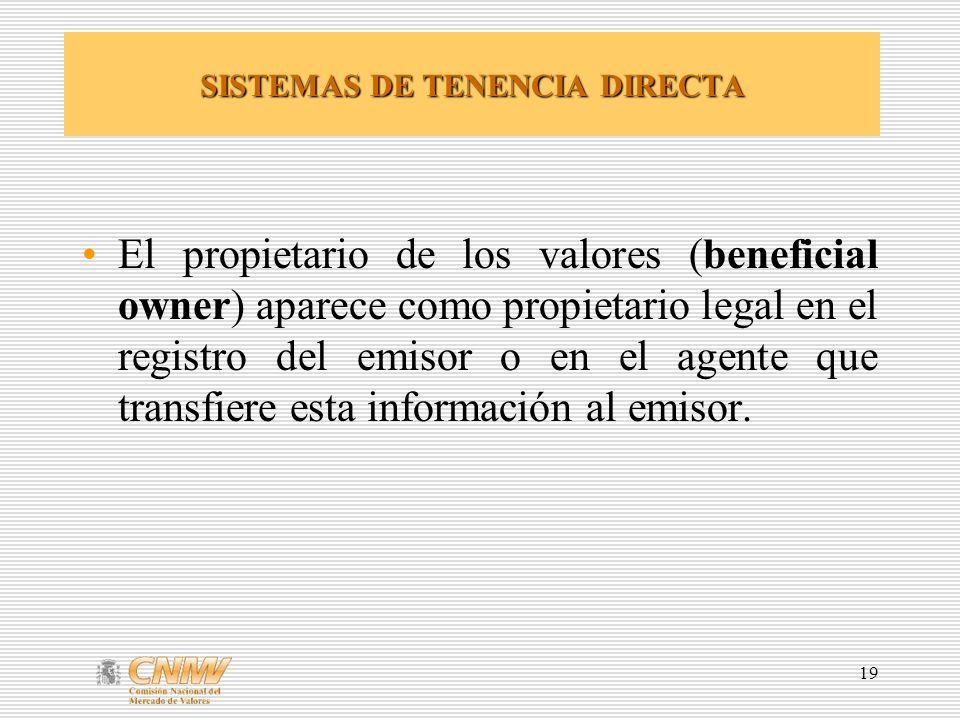 19 SISTEMAS DE TENENCIA DIRECTA El propietario de los valores (beneficial owner) aparece como propietario legal en el registro del emisor o en el agente que transfiere esta información al emisor.