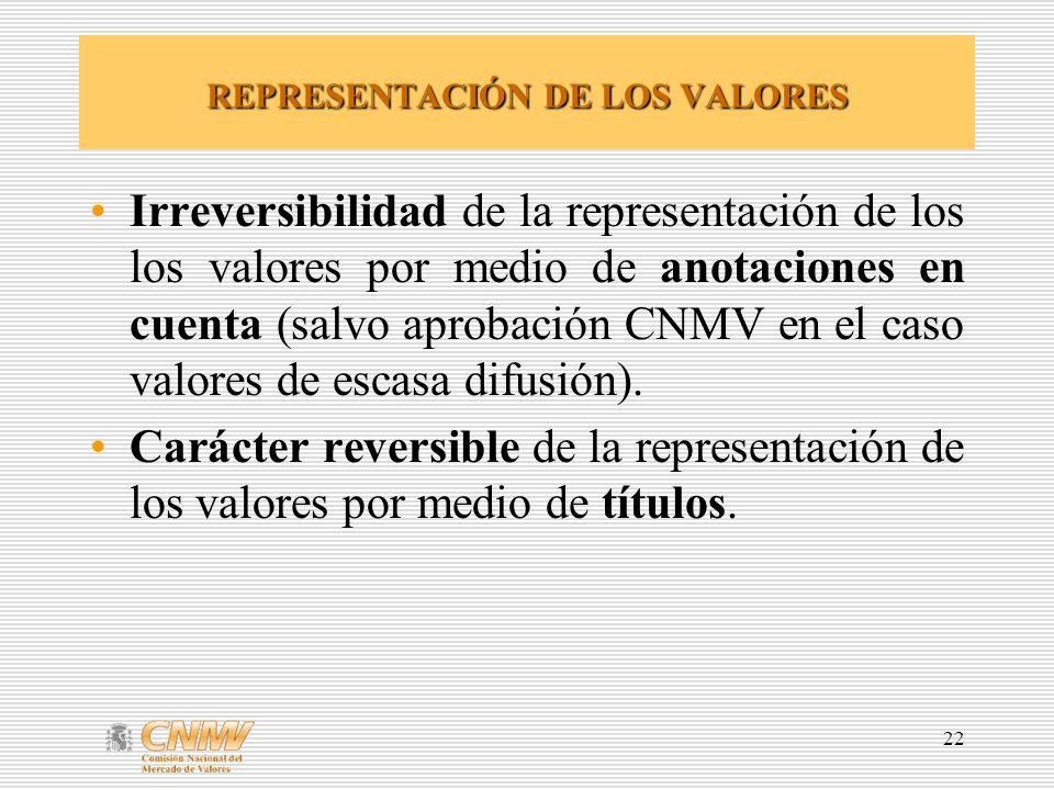 22 REPRESENTACIÓN DE LOS VALORES Irreversibilidad de la representación de los los valores por medio de anotaciones en cuenta (salvo aprobación CNMV en el caso valores de escasa difusión).