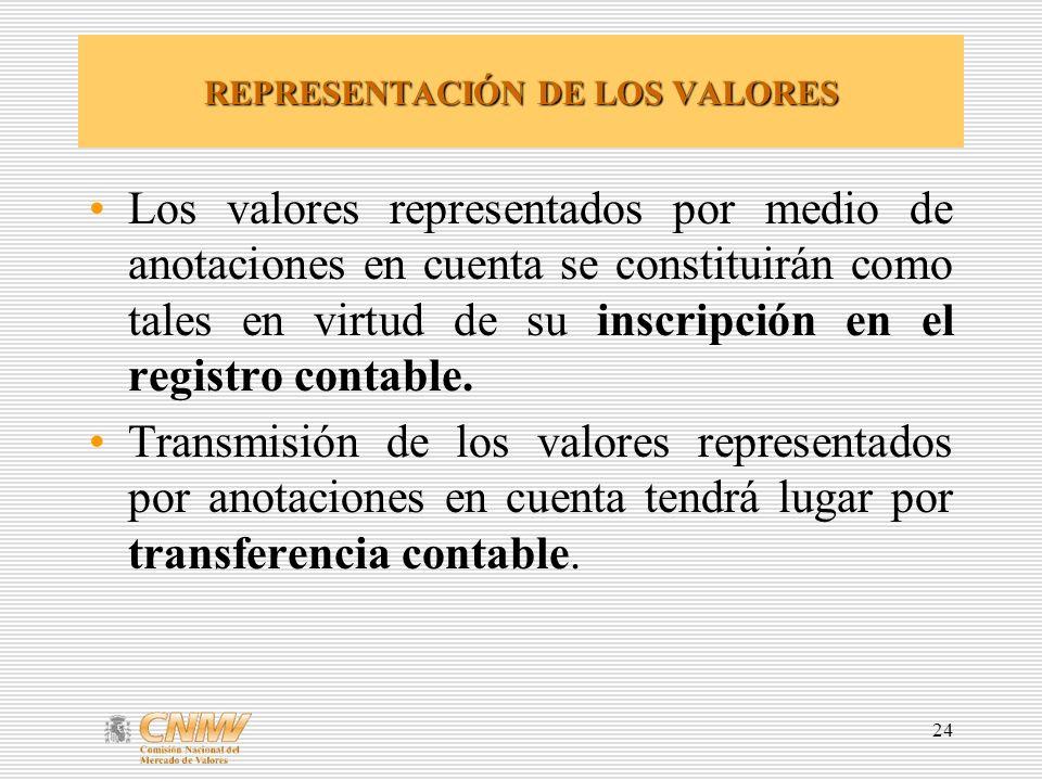 24 REPRESENTACIÓN DE LOS VALORES Los valores representados por medio de anotaciones en cuenta se constituirán como tales en virtud de su inscripción en el registro contable.