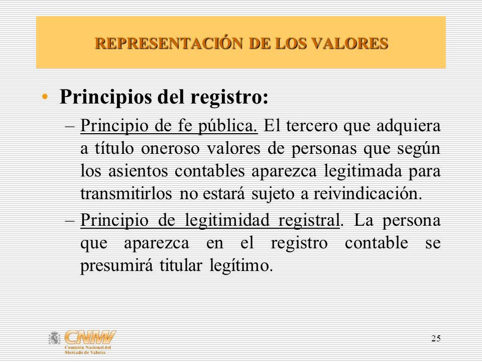 25 REPRESENTACIÓN DE LOS VALORES Principios del registro: –Principio de fe pública.
