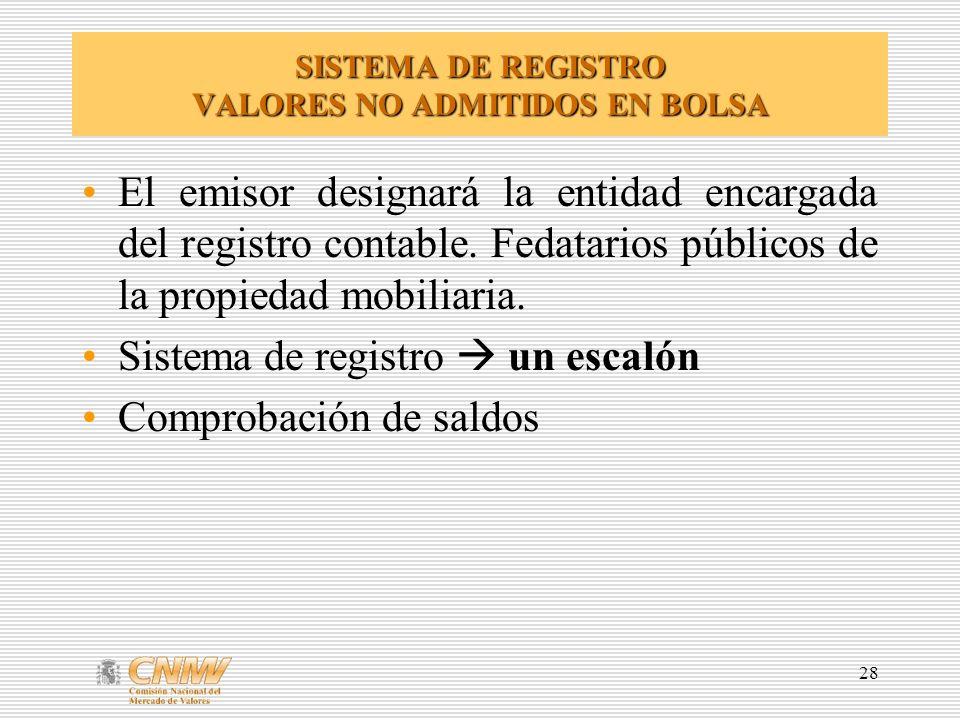 28 SISTEMA DE REGISTRO VALORES NO ADMITIDOS EN BOLSA El emisor designará la entidad encargada del registro contable.