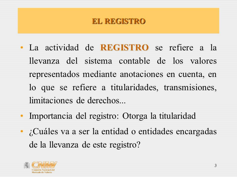 3 EL REGISTRO REGISTROLa actividad de REGISTRO se refiere a la llevanza del sistema contable de los valores representados mediante anotaciones en cuenta, en lo que se refiere a titularidades, transmisiones, limitaciones de derechos...