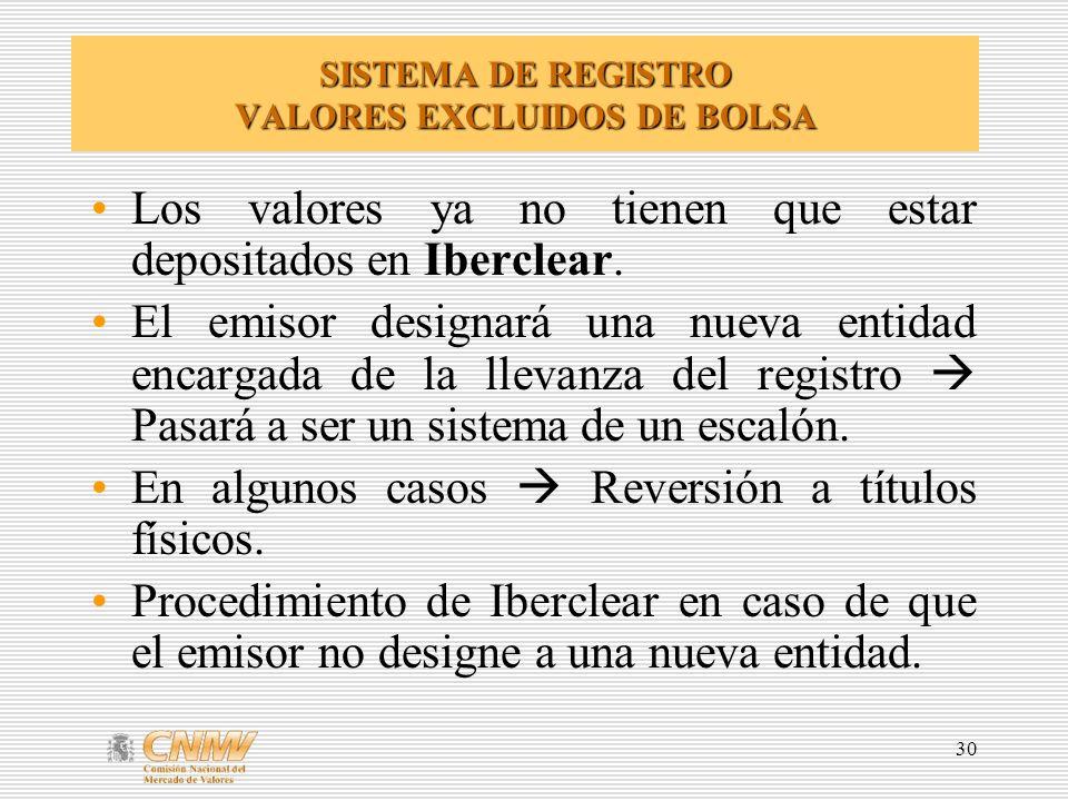 30 SISTEMA DE REGISTRO VALORES EXCLUIDOS DE BOLSA Los valores ya no tienen que estar depositados en Iberclear.
