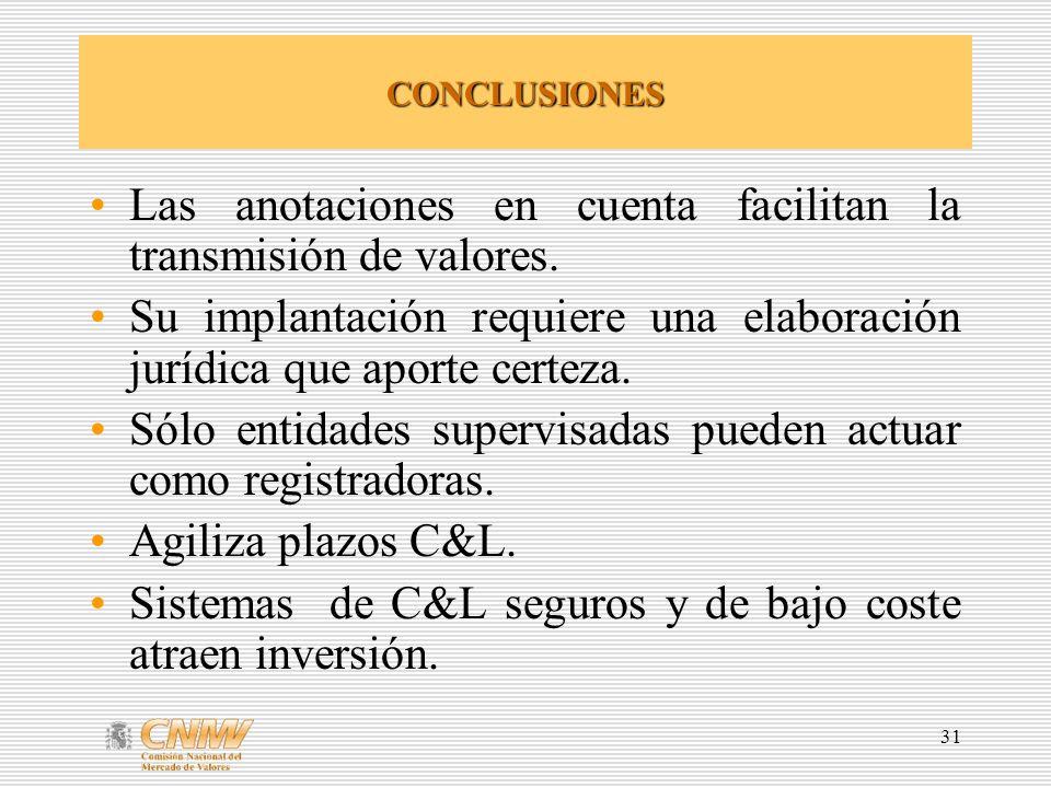 31 CONCLUSIONES Las anotaciones en cuenta facilitan la transmisión de valores.