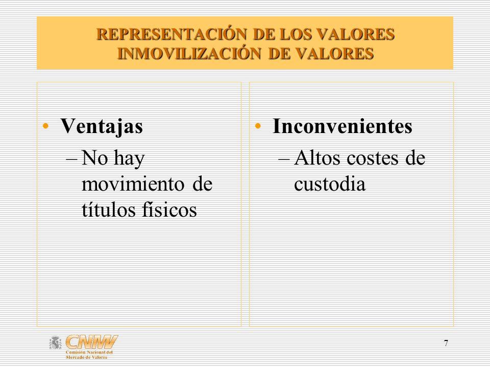 7 REPRESENTACIÓN DE LOS VALORES INMOVILIZACIÓN DE VALORES Ventajas –No hay movimiento de títulos físicos Inconvenientes –Altos costes de custodia