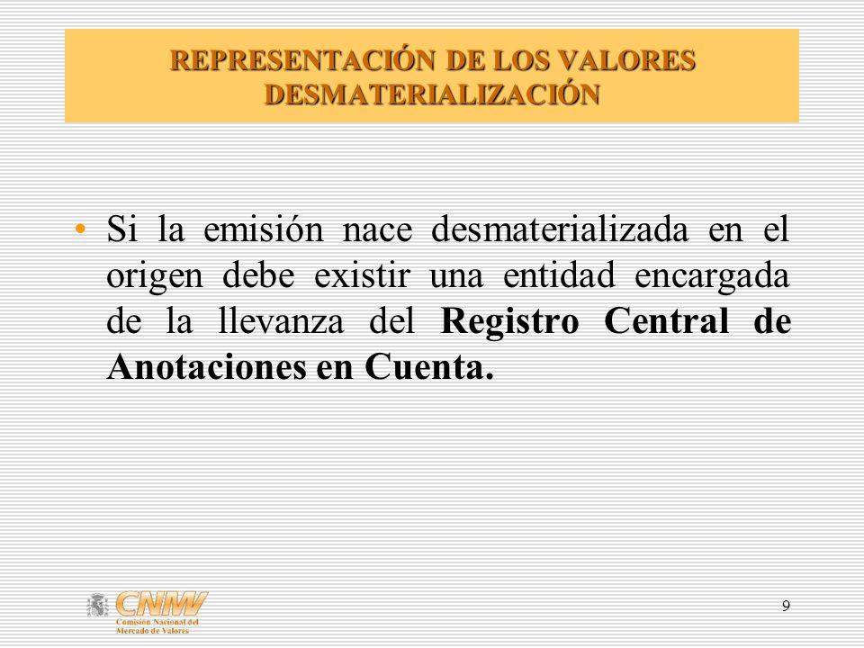 9 REPRESENTACIÓN DE LOS VALORES DESMATERIALIZACIÓN Si la emisión nace desmaterializada en el origen debe existir una entidad encargada de la llevanza del Registro Central de Anotaciones en Cuenta.