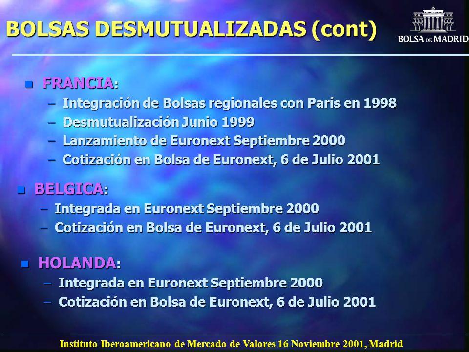 Instituto Iberoamericano de Mercado de Valores 16 Noviembre 2001, Madrid BOLSAS DESMUTUALIZADAS (cont) n FRANCIA : –Integración de Bolsas regionales c
