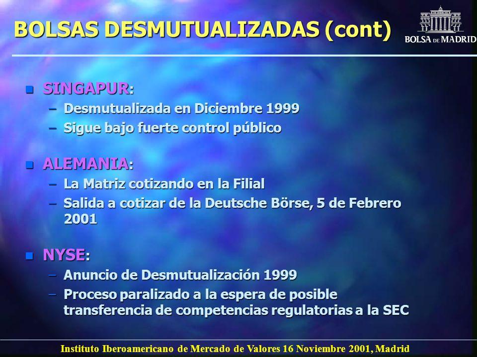 Instituto Iberoamericano de Mercado de Valores 16 Noviembre 2001, Madrid BOLSAS DESMUTUALIZADAS (cont) n ALEMANIA : –La Matriz cotizando en la Filial
