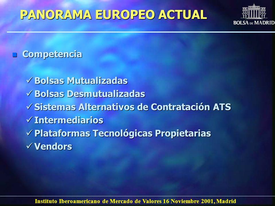 Instituto Iberoamericano de Mercado de Valores 16 Noviembre 2001, Madrid PANORAMA EUROPEO ACTUAL n Competencia Bolsas Mutualizadas Bolsas Mutualizadas