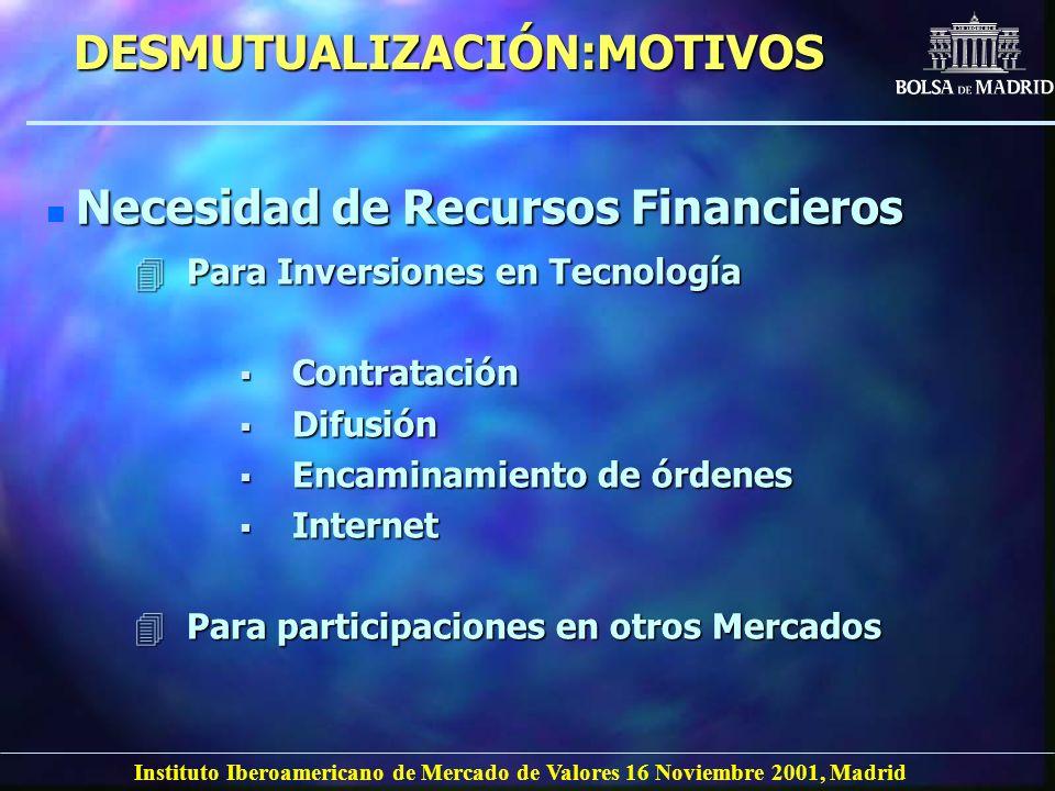 Instituto Iberoamericano de Mercado de Valores 16 Noviembre 2001, Madrid DESMUTUALIZACIÓN:MOTIVOS n Necesidad de Recursos Financieros 4Para Inversione
