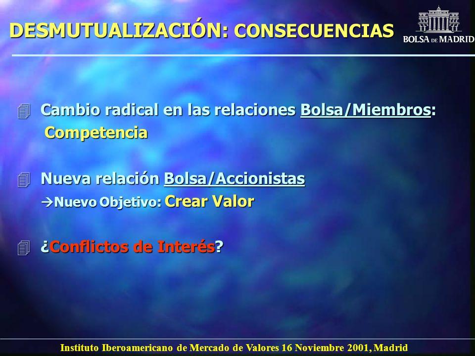 Instituto Iberoamericano de Mercado de Valores 16 Noviembre 2001, Madrid DESMUTUALIZACIÓN: CONSECUENCIAS 4Cambio radical en las relaciones Bolsa/Miemb