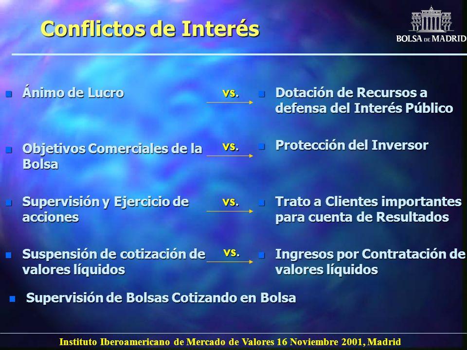 Instituto Iberoamericano de Mercado de Valores 16 Noviembre 2001, Madrid Conflictos de Interés n Ánimo de Lucro n Objetivos Comerciales de la Bolsa n