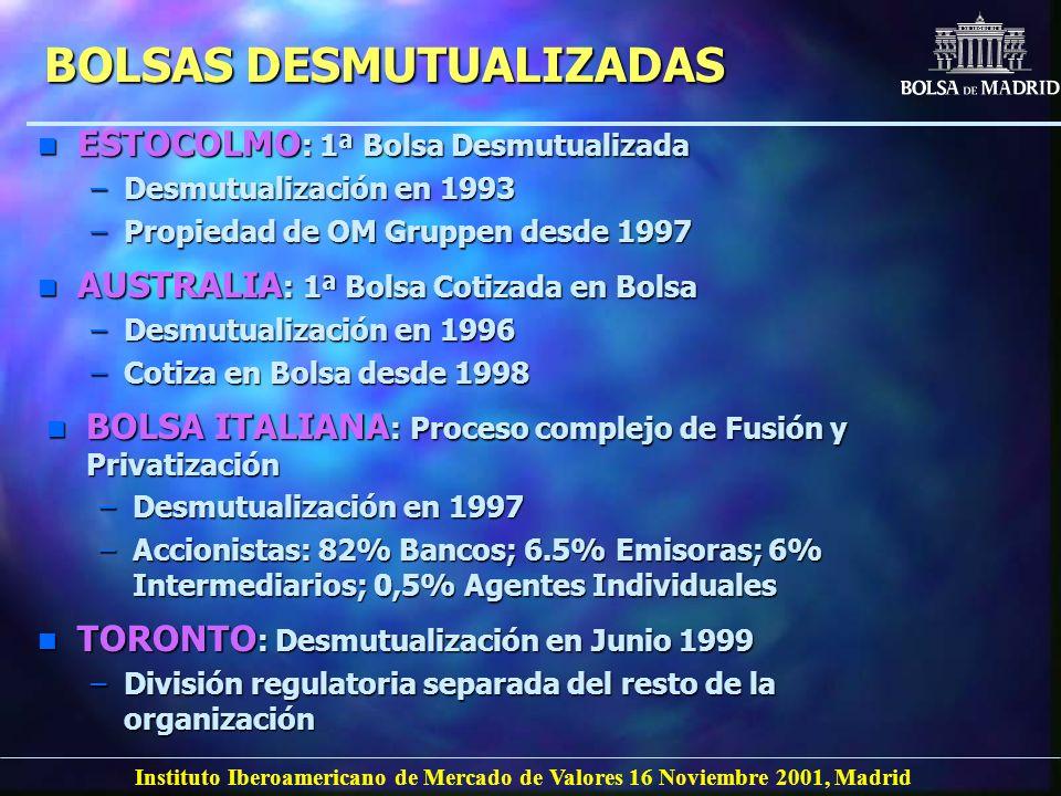 Instituto Iberoamericano de Mercado de Valores 16 Noviembre 2001, Madrid n ESTOCOLMO : 1ª Bolsa Desmutualizada –Desmutualización en 1993 –Propiedad de