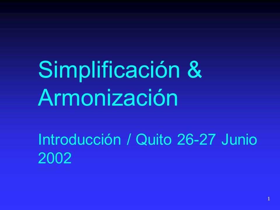 1 Simplificación & Armonización Introducción / Quito 26-27 Junio 2002