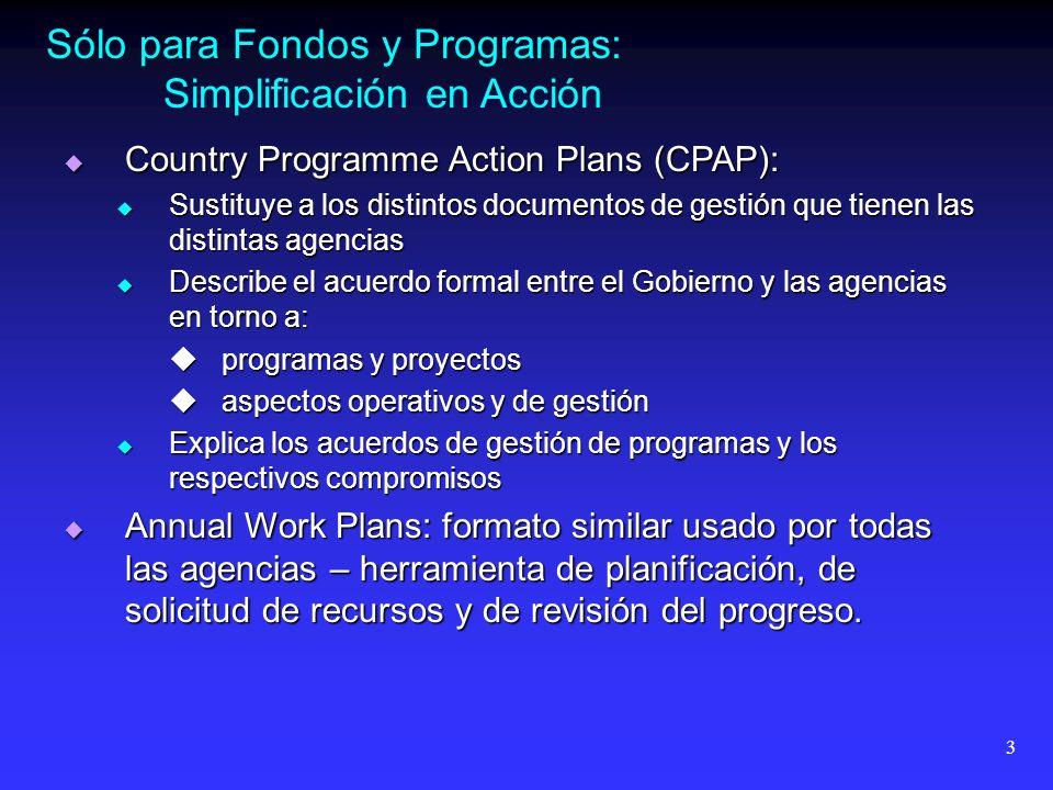 3 Sólo para Fondos y Programas: Simplificación en Acción Country Programme Action Plans (CPAP): Country Programme Action Plans (CPAP): Sustituye a los distintos documentos de gestión que tienen las distintas agencias Sustituye a los distintos documentos de gestión que tienen las distintas agencias Describe el acuerdo formal entre el Gobierno y las agencias en torno a: Describe el acuerdo formal entre el Gobierno y las agencias en torno a: programas y proyectos programas y proyectos aspectos operativos y de gestión aspectos operativos y de gestión Explica los acuerdos de gestión de programas y los respectivos compromisos Explica los acuerdos de gestión de programas y los respectivos compromisos Annual Work Plans: formato similar usado por todas las agencias – herramienta de planificación, de solicitud de recursos y de revisión del progreso.