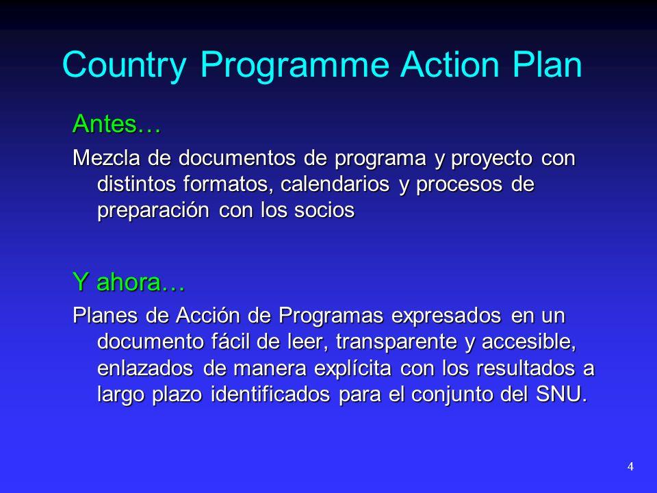 4 Country Programme Action Plan Antes… Mezcla de documentos de programa y proyecto con distintos formatos, calendarios y procesos de preparación con l