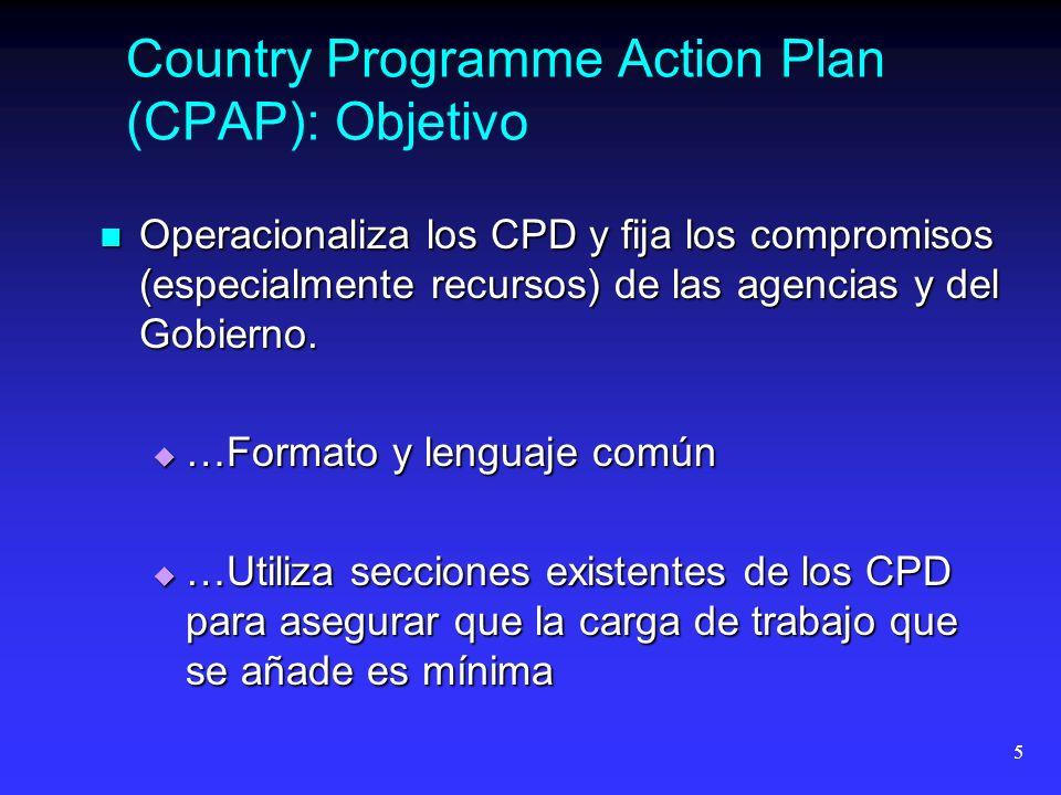5 Country Programme Action Plan (CPAP): Objetivo Operacionaliza los CPD y fija los compromisos (especialmente recursos) de las agencias y del Gobierno.
