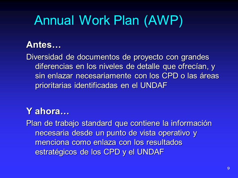 9 Annual Work Plan (AWP) Antes… Diversidad de documentos de proyecto con grandes diferencias en los niveles de detalle que ofrecían, y sin enlazar necesariamente con los CPD o las áreas prioritarias identificadas en el UNDAF Y ahora… Plan de trabajo standard que contiene la información necesaria desde un punto de vista operativo y menciona como enlaza con los resultados estratégicos de los CPD y el UNDAF
