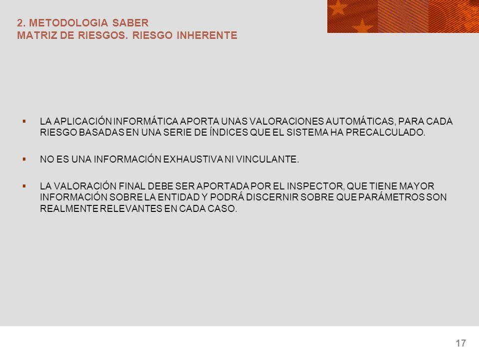 17 2. METODOLOGIA SABER MATRIZ DE RIESGOS. RIESGO INHERENTE LA APLICACIÓN INFORMÁTICA APORTA UNAS VALORACIONES AUTOMÁTICAS, PARA CADA RIESGO BASADAS E