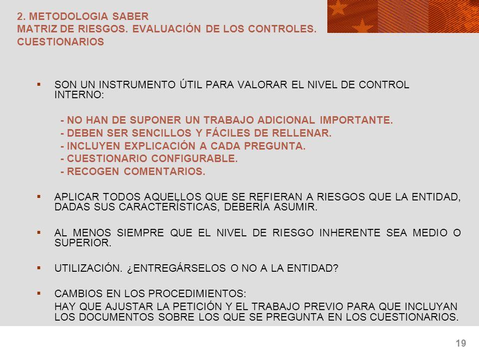 19 2. METODOLOGIA SABER MATRIZ DE RIESGOS. EVALUACIÓN DE LOS CONTROLES. CUESTIONARIOS SON UN INSTRUMENTO ÚTIL PARA VALORAR EL NIVEL DE CONTROL INTERNO