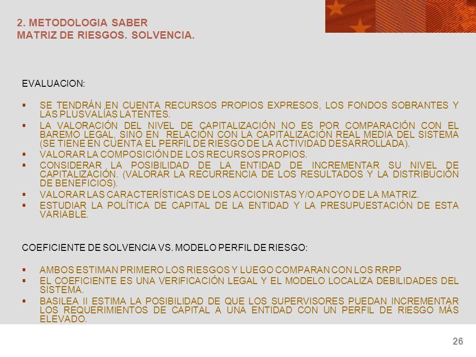 26 2. METODOLOGIA SABER MATRIZ DE RIESGOS. SOLVENCIA. EVALUACION: SE TENDRÁN EN CUENTA RECURSOS PROPIOS EXPRESOS, LOS FONDOS SOBRANTES Y LAS PLUSVALÍA