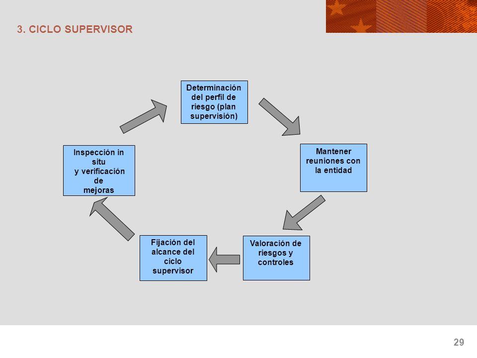 29 3. CICLO SUPERVISOR Determinación del perfil de riesgo (plan supervisión) Mantener reuniones con la entidad Valoración de riesgos y controles Fijac