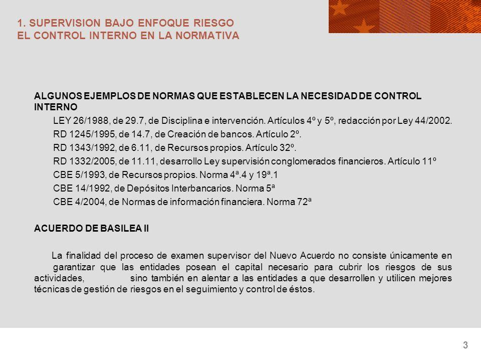 3 1. SUPERVISION BAJO ENFOQUE RIESGO EL CONTROL INTERNO EN LA NORMATIVA ALGUNOS EJEMPLOS DE NORMAS QUE ESTABLECEN LA NECESIDAD DE CONTROL INTERNO LEY