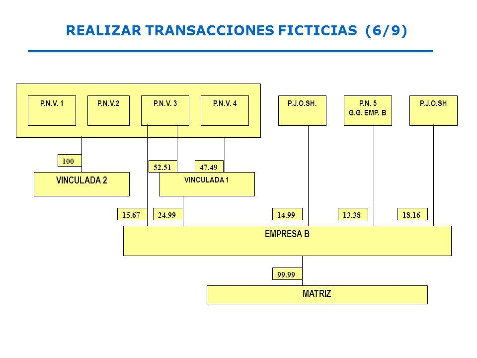 REALIZAR TRANSACCIONES FICTICIAS (6/9) VINCULADA 1 MATRIZ 99.99 P.J.O.SHP.N.