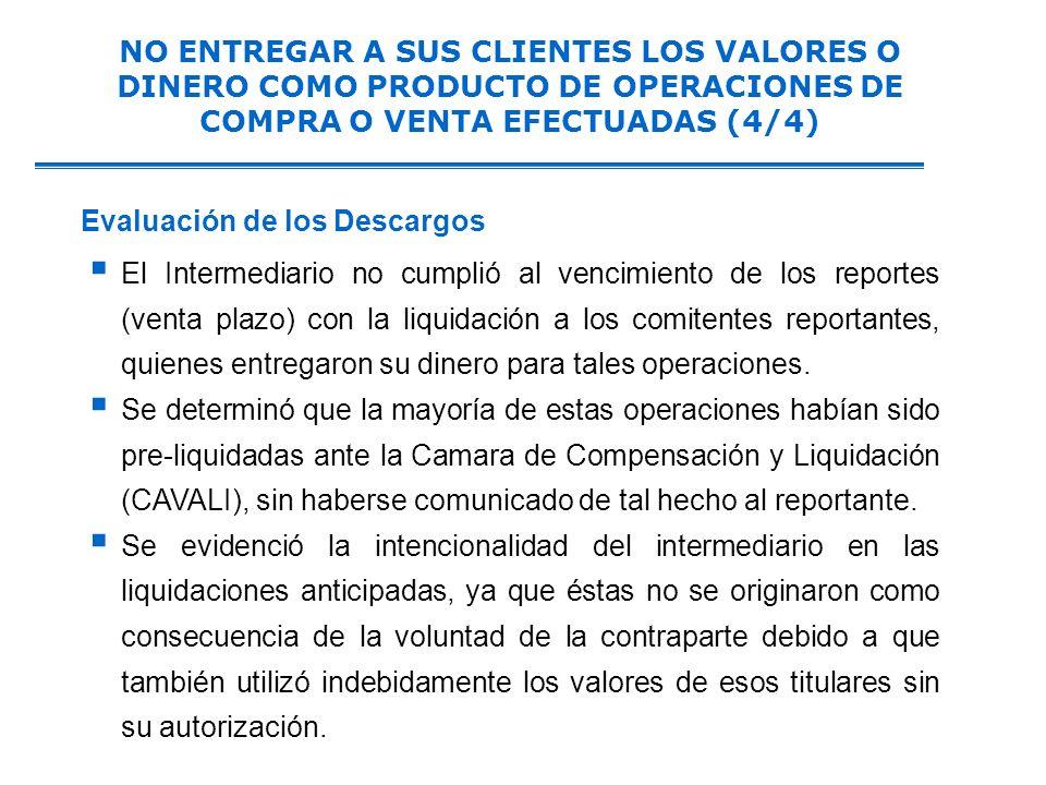 El Intermediario no cumplió al vencimiento de los reportes (venta plazo) con la liquidación a los comitentes reportantes, quienes entregaron su dinero para tales operaciones.