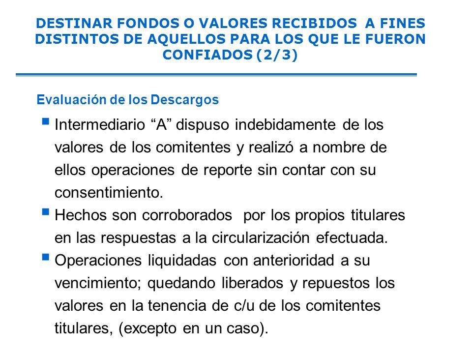 Intermediario A dispuso indebidamente de los valores de los comitentes y realizó a nombre de ellos operaciones de reporte sin contar con su consentimiento.